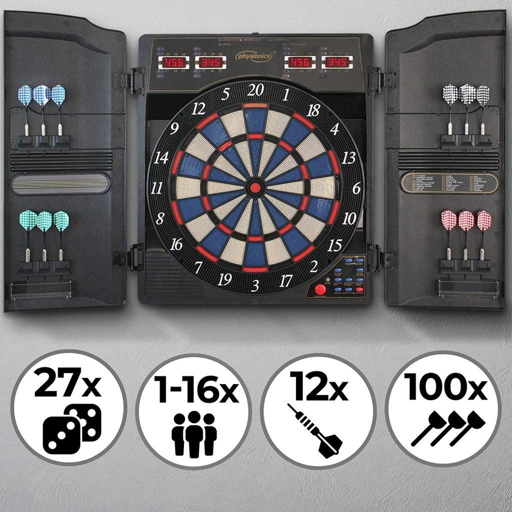physionics diana electrónica 27 juegos 159 variaciones incluidos 12 dardos y 100 puntas de repuesto